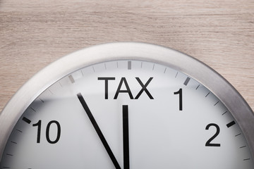 Clock Showing Arrival Of Tax Time