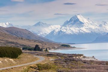 Cinematic Road to Mount Cook , New Zealand.