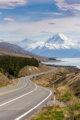 Cinematic Road to Mount Cook , New Zealand.
