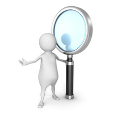 white 3d man with magnifying glass. search concept