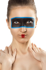 Closeup beauty portrait of attractive woman face