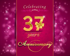37 year celebration sparkling card, 37th anniversary