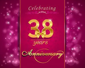 38 year celebration sparkling card, 38th anniversary