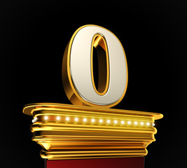 Number Zero on golden platform over black background