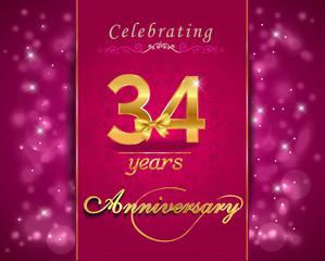 34 year celebration sparkling card, 34th anniversary