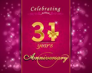 31 year celebration sparkling card, 31st anniversary