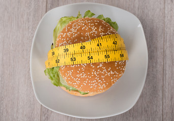 Burger Wrapped In Measure Tape On Plate