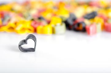 Italian pasta hearts shaped
