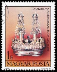Stamp printed in Hungary shows Torah Crown