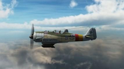 WW2 Focke-Wulf FW 190 Airplane in fly - close up