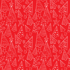 Pattern with funny Christmas trees