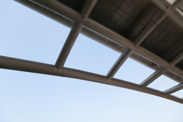 industrial steel structure against blue sky