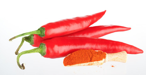 Chile hot pepper and chili powder in a wooden spoon