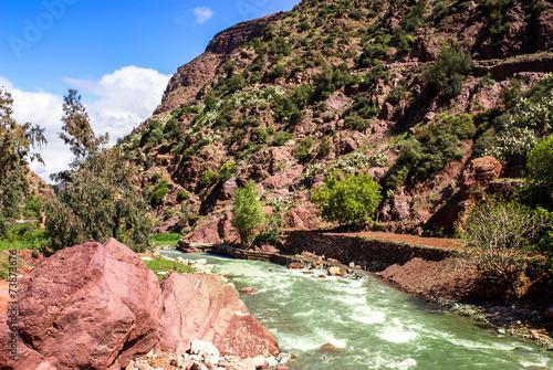 Staande foto Afrika Paysage du Maroc rivière Ourika