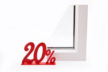 Белый профиль окна и скидка 20 процентов