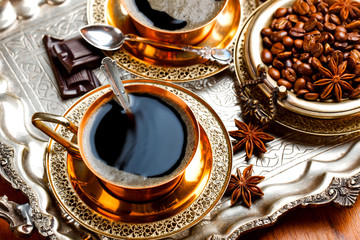 Black coffee in oriental style