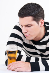 young man with glass of beer