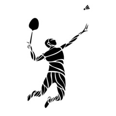 Creative silhouette of a badminton player