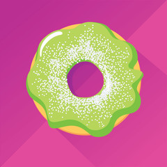 Pistachio donut with powdered sugar