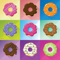 Flat design donuts set, vector image whit long shadow