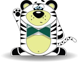 A cartoon illustration of a tiger looking sad