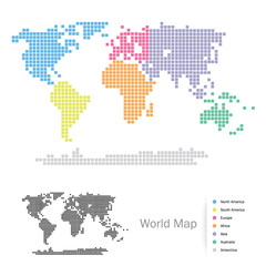 Squared World Continents map: