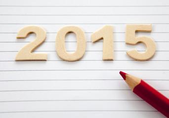 2015 sur carbet ligne et crayon rouge