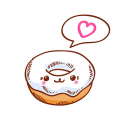 Illustration of cute kawaii donut.