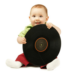 little boy with disco plate