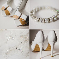 collage of wedding accessories