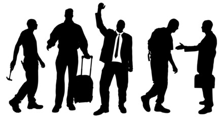 Vector silhouettes of different men.