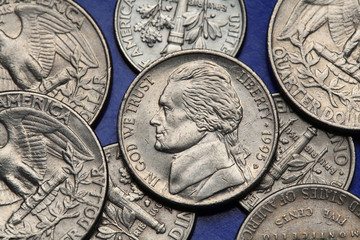 Coins of USA. US nickel, Thomas Jefferson