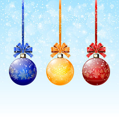 Blue background and Christmas balls