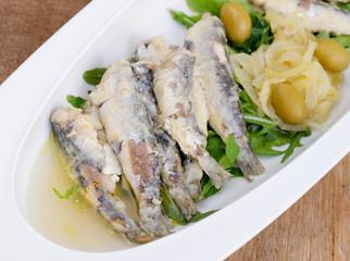 Tasty Marinated sardines with Mediterranean herbs