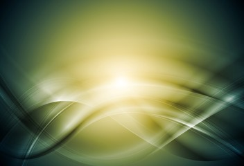 Green blurred abstract vector waves