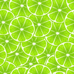 Green lime slices seamless background.