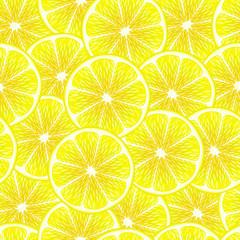 Yellow lemon slices seamless background.