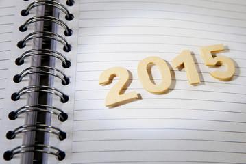 2015 en chiffre sur cahier a spirales