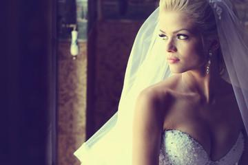 Beautiful bride at soft light