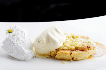 Warm French apple tarte tatin with vanilla ice cream