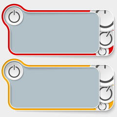 set of two abstract text boxes and power button