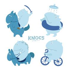 Cute character troll, hippo