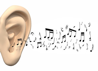 big ear and music notes coming