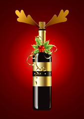 Vector of wine bottle for christmas