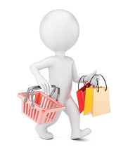 3D man with shopping bags and cart