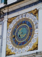 A historical  astronomical clock in Brescia in Italy