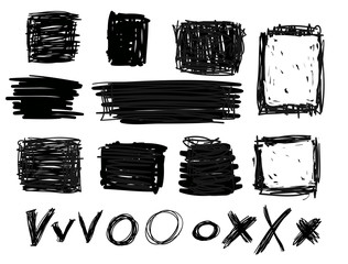 hand drawn black squares and rectangles