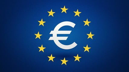 euro currency symbol with rotating yellow stars endless loop