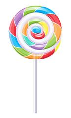 Rainbow colored round spiral lollipop.
