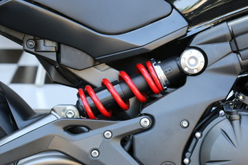 Close up Shock Absorber's motorcycle .